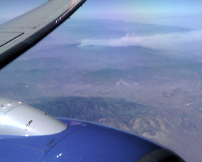 View from an airliner of a wildfire burning in the Lake Isabella area, above Bakersfield CA